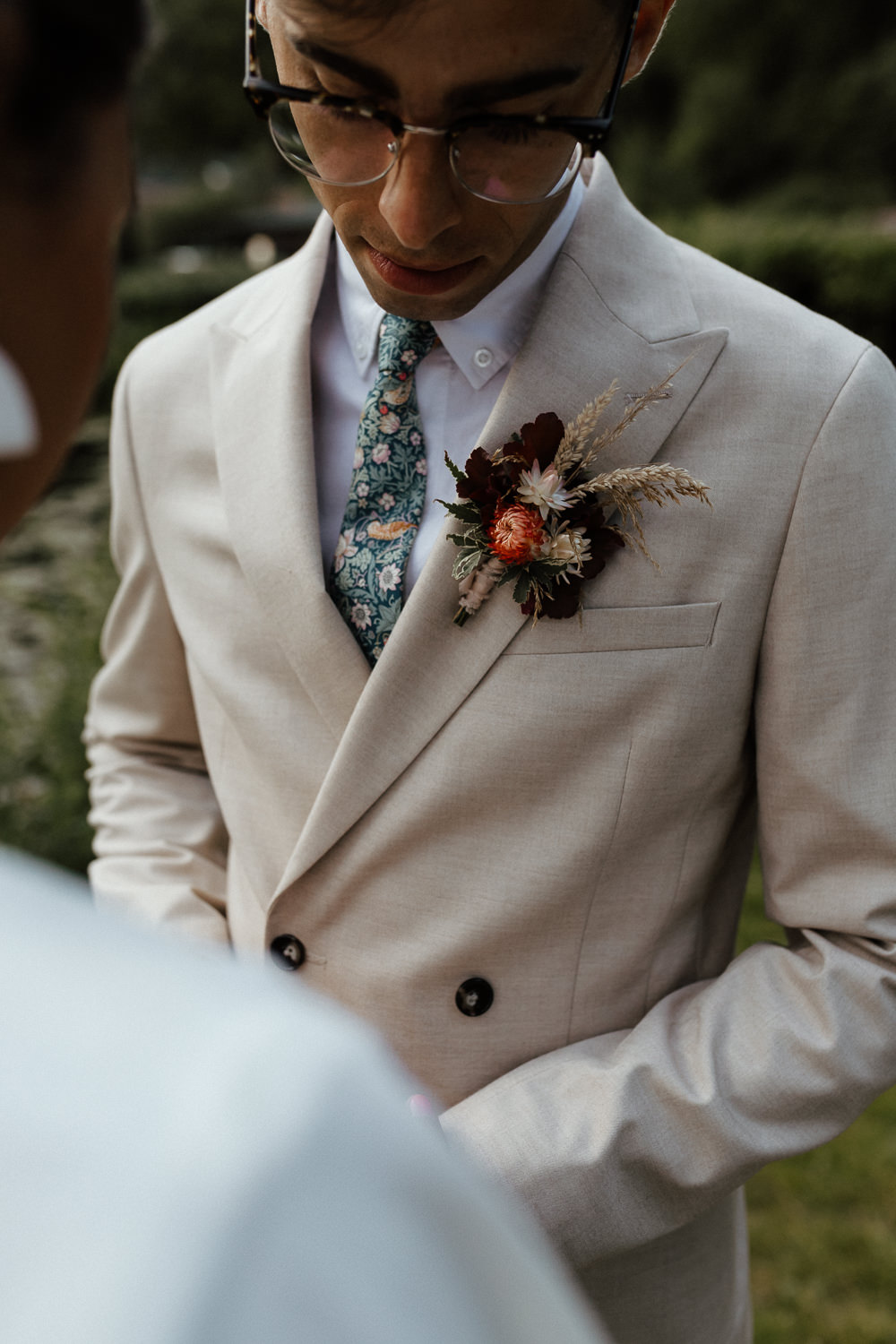 Groom Suit Double Breasted Buttonhole Flowers Small Wedding Ideas UK Caitlin and Jones