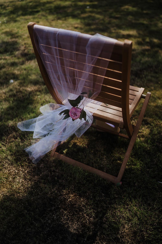 Chair Decor Flowers Socially Distanced Wedding Tiffany Gage Photography