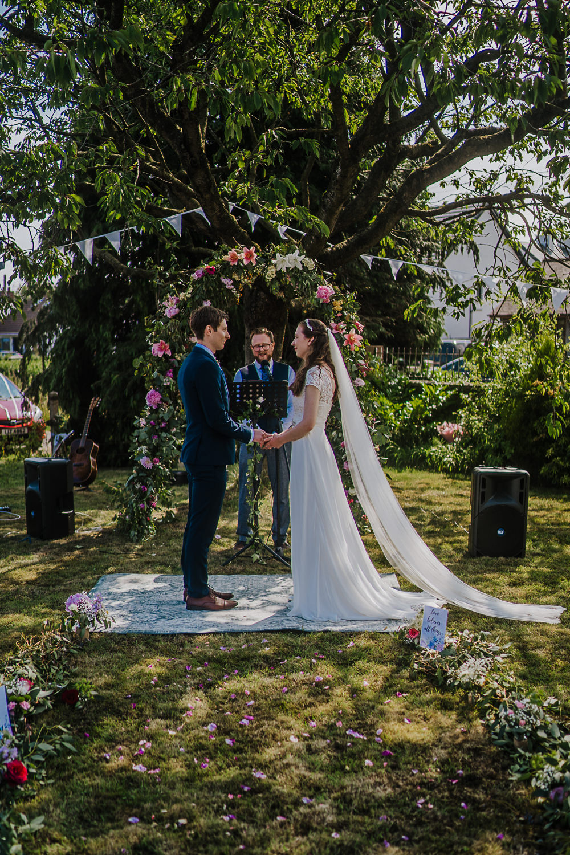 Flower Arch Bunting Ceremony Decor Backdrop Socially Distanced Wedding Tiffany Gage Photography
