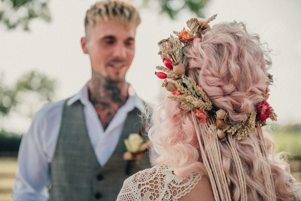 Bride Bridal Flower Crown Plait Braid Pink Boho Wedding Ideas Roshni Photography