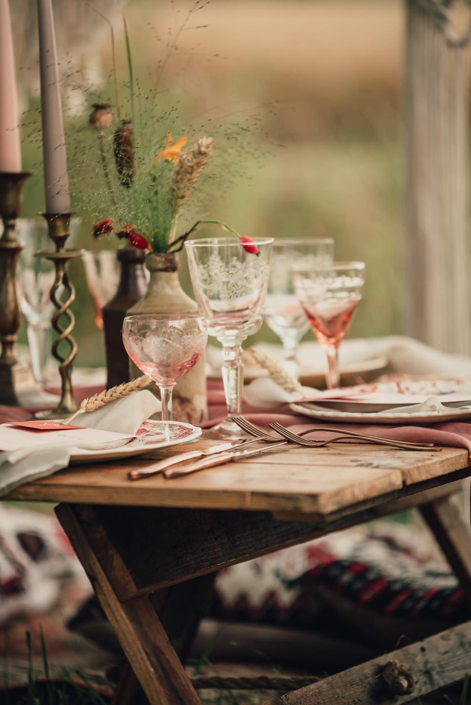 Tableware Glasses Boho Wedding Ideas Roshni Photography