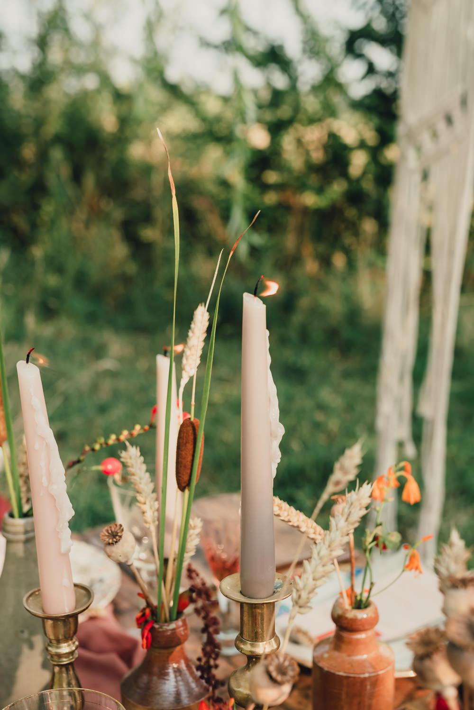 Table Tablescape Decor Macrame Backdrop Rug Outdoor Cushions Decor Flowers Bottles Boho Wedding Ideas Roshni Photography