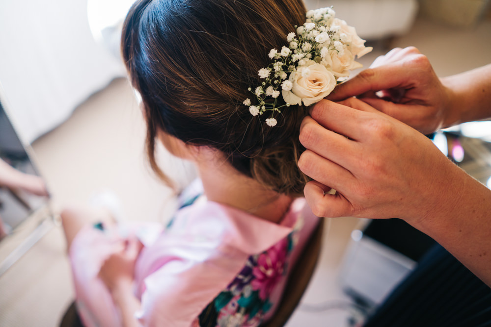 Bride Bridal Hair Flowers Castle View Wedding Sally T Photography