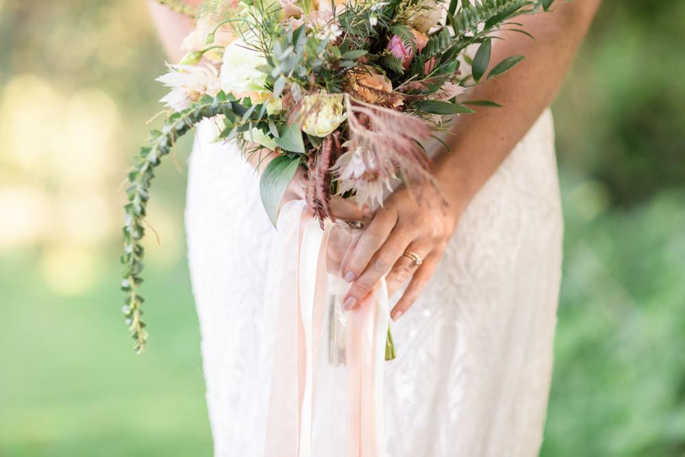 Bouquet Flowers Bride Bridal Blush Ribbon Rose Greenery Doxford Barns Wedding Lara Frost Photography