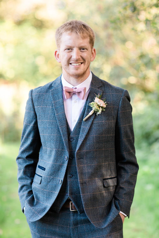 Groom Groomsmen Suit Pink Bow Tie Doxford Barns Wedding Lara Frost Photography