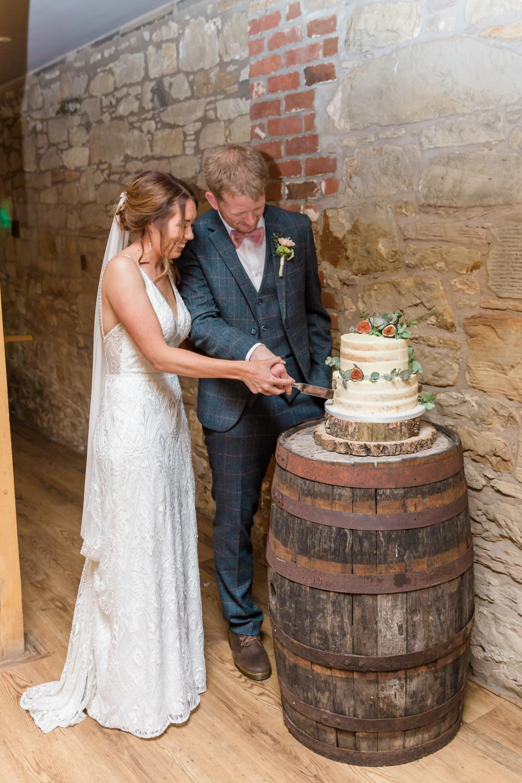 Semi Naked Cake Log Stand Barrel Doxford Barns Wedding Lara Frost Photography
