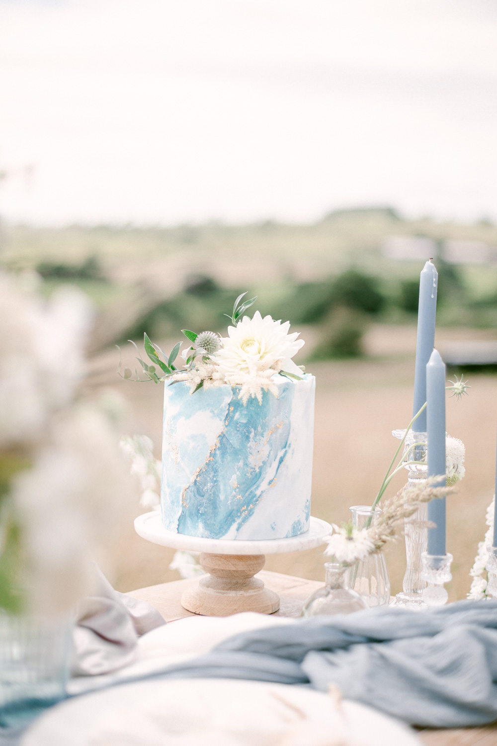 Watercolour Cake Blue Family Elopement Ideas Sophie May Photo