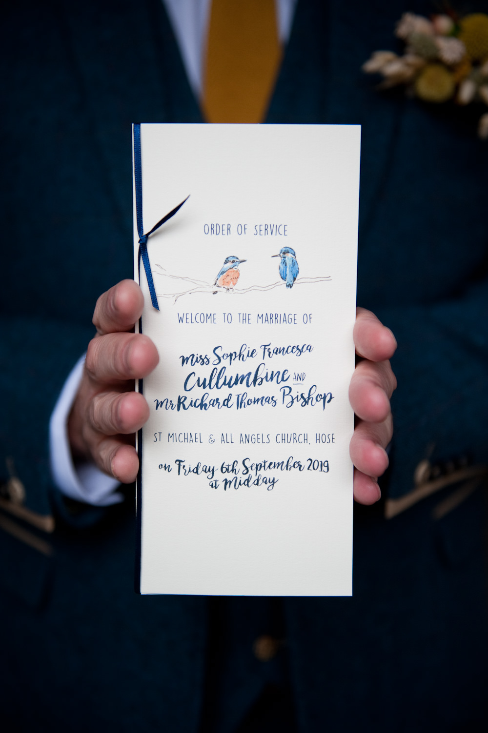 Stationery Order of Service Birds Floral Wedding Rachael Connerton Photography