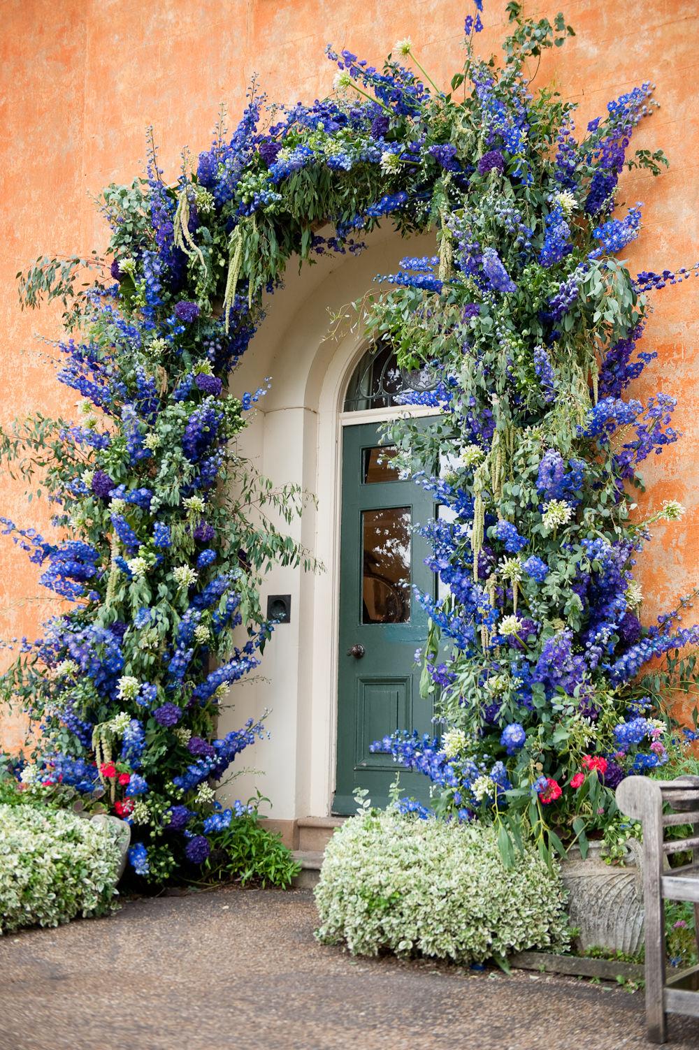 Flower Arch Archway Doorway Arrangement Delphinium Floral Wedding Rachael Connerton Photography