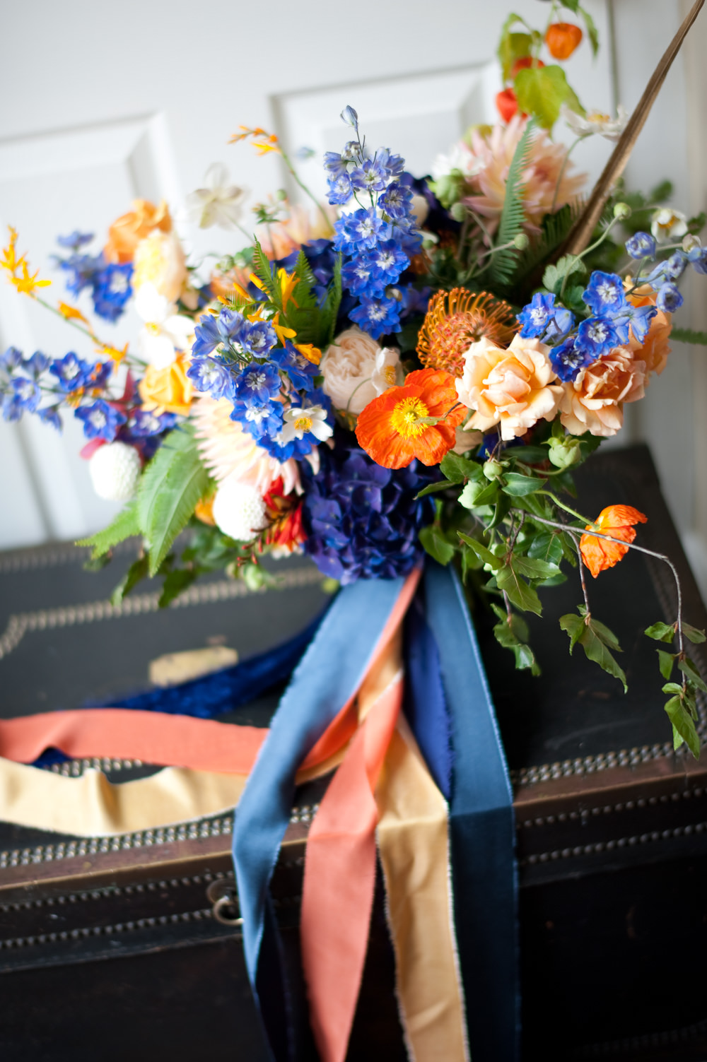Bouquet Flowers Bride Bridal Colourful Ribbon Orange Blue Delphinium Rose Floral Wedding Rachael Connerton Photography