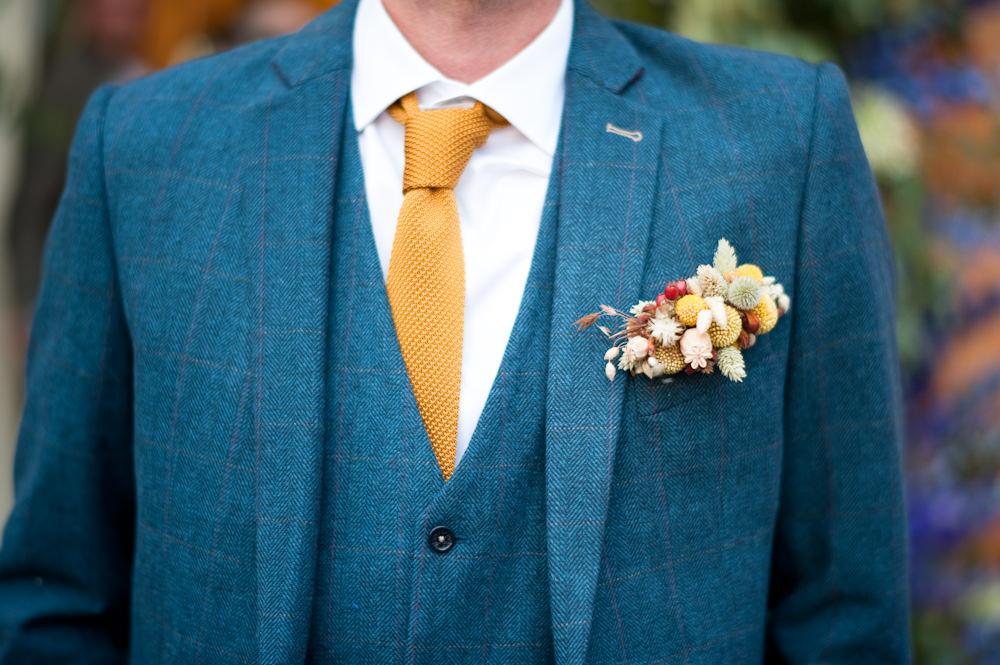 Groom Suit Blue Mustard Tie Buttonhole Flowers Pocket Floral Wedding Rachael Connerton Photography