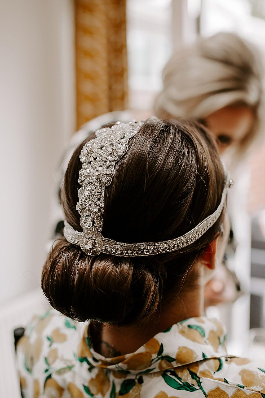 Bride Bridal Headdress Accessory Hair Style Up Do Glevering Hall Wedding Sharon Cudworth Photography