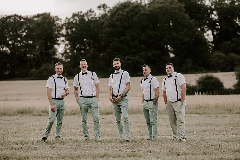 Groom Suit Bow Tie Braces Groomsmen Glevering Hall Wedding Sharon Cudworth Photography