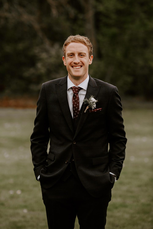 Groom Suit Black Red Tie Hazel Gap Barn Wedding The Light Painters