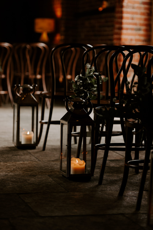 Aisle Pew End Candles Ceremony Hazel Gap Barn Wedding The Light Painters