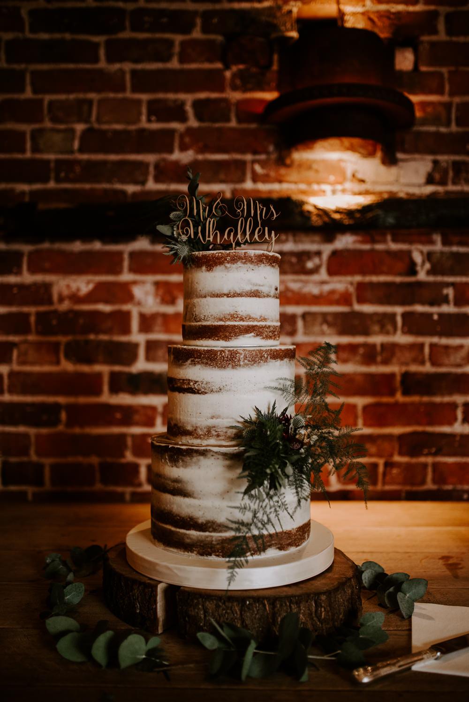 Semi Naked Cake Tall Topper Flowers Hazel Gap Barn Wedding The Light Painters