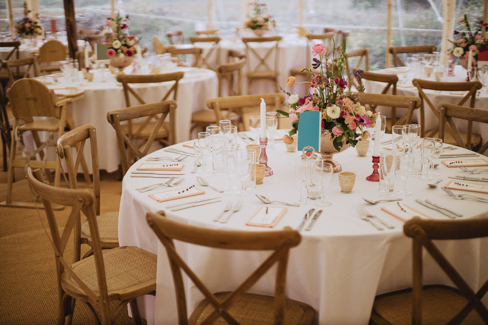 Round Tables Cross Back Chairs Marquee Wedding Wales Fox & Bear Photography