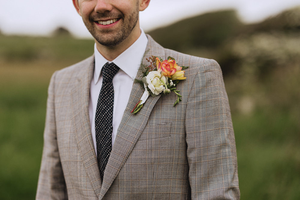 Groom Suit Grey Check Tie Buttonhole Marquee Wedding Wales Fox & Bear Photography