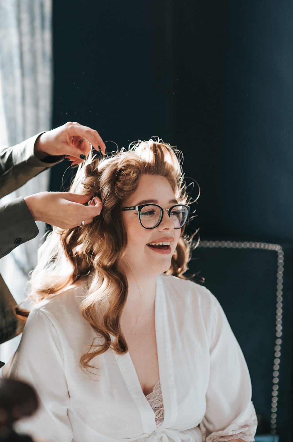 Bride Bridal Hair Make Up Glasses Prestwold Hall Wedding Pear & Bear Photography