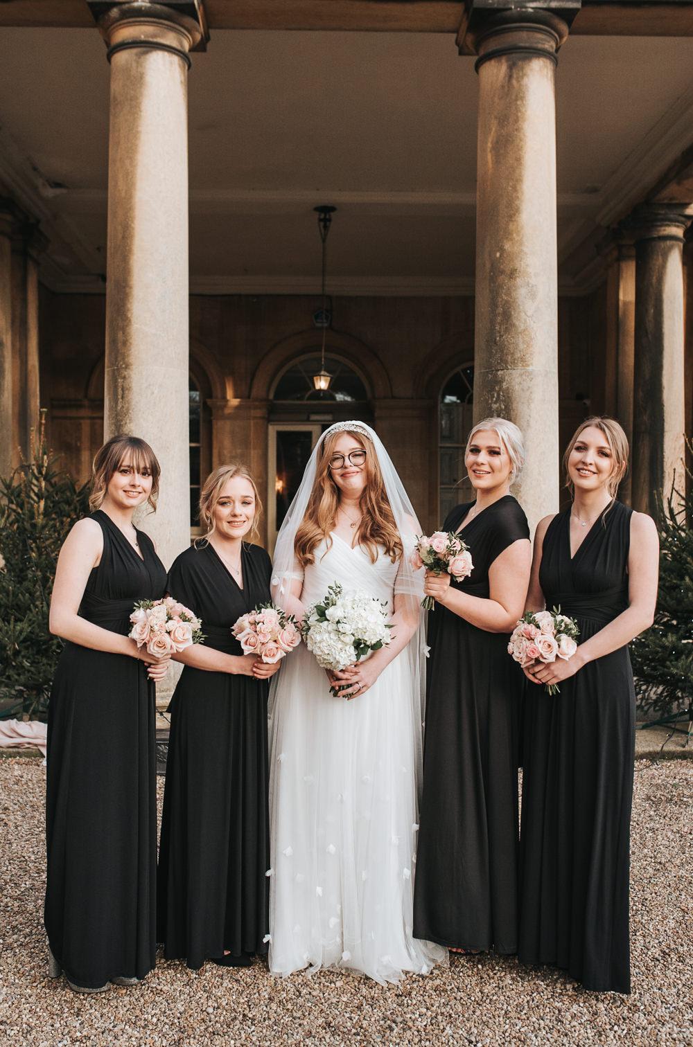 Bridesmaids Bridesmaid Dress Dresses Black Prestwold Hall Wedding Pear & Bear Photography