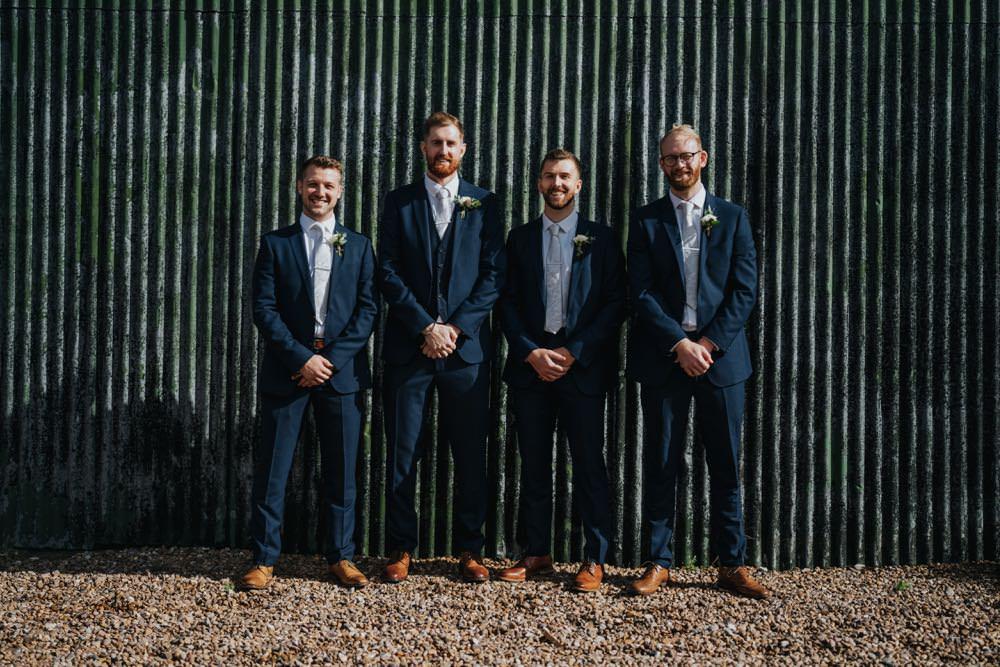 Groom Groomsmen Suits Navy Grey Tie The Barns East Yorkshire Wedding Bloom Weddings