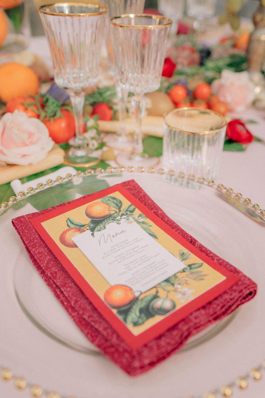 Menu Place Setting Tuscan Wedding Ideas Giuseppe Giovannelli