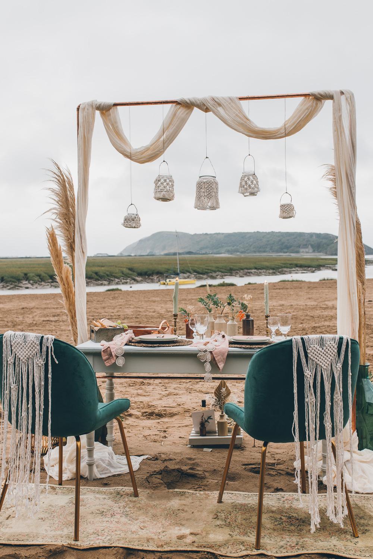 Table Tablescape Boho Macrame Decor Pampas Grass Lampshades Beach Wedding UK Maria Madison Photographer