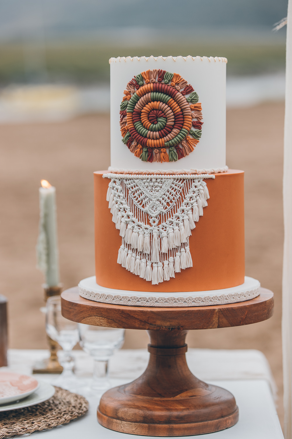 Orange Rust Cake Macrame Beach Wedding UK Maria Madison Photographer