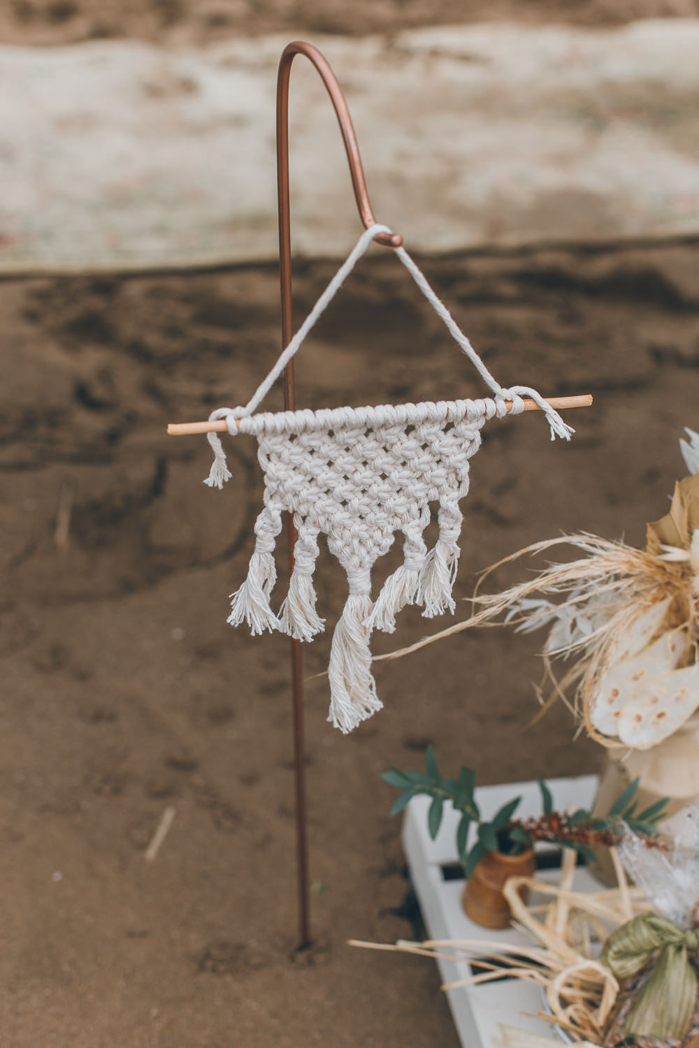 Macrame Hanging Beach Wedding UK Maria Madison Photographer