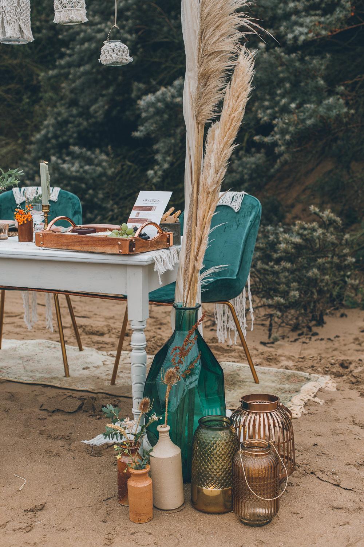 Pampass Grass Flowers Decor Beach Wedding UK Maria Madison Photographer