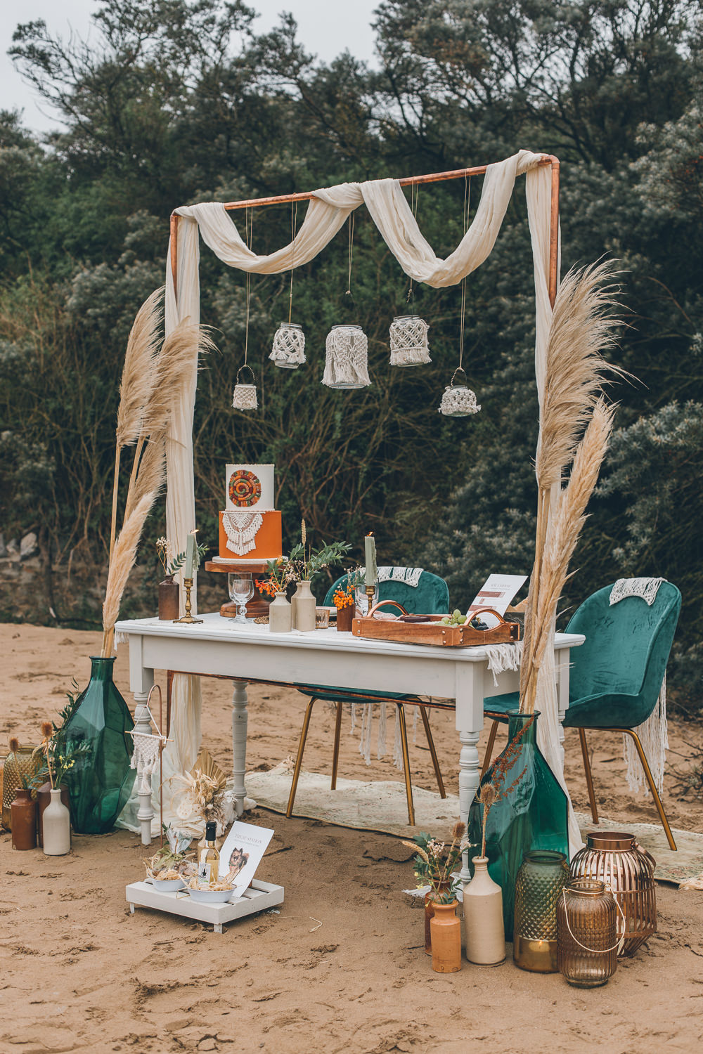 Table Tablescape Boho Macrame Decor Pampas Grass Lampshades Beach Wedding UK Maria Madison Photographer
