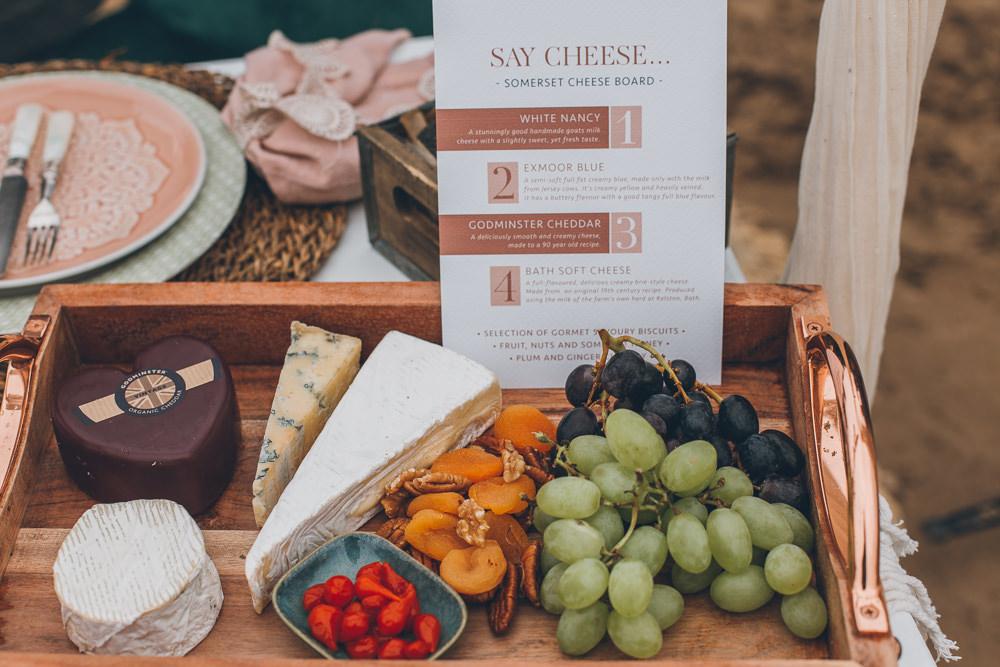 Cheese Board Platter Food Beach Wedding UK Maria Madison Photographer