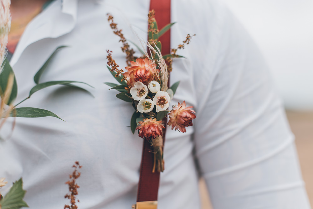 Groom Buttonhole Flowers Beach Wedding UK Maria Madison Photographer