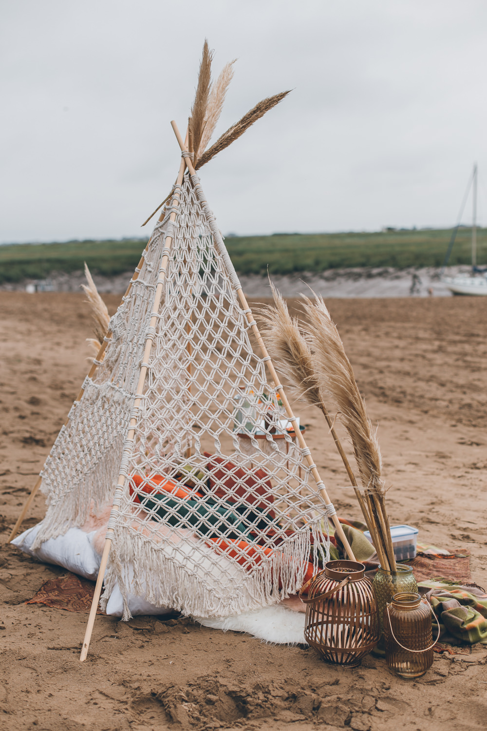 Tipi Seating Area Boho Beach Wedding UK Maria Madison Photographer