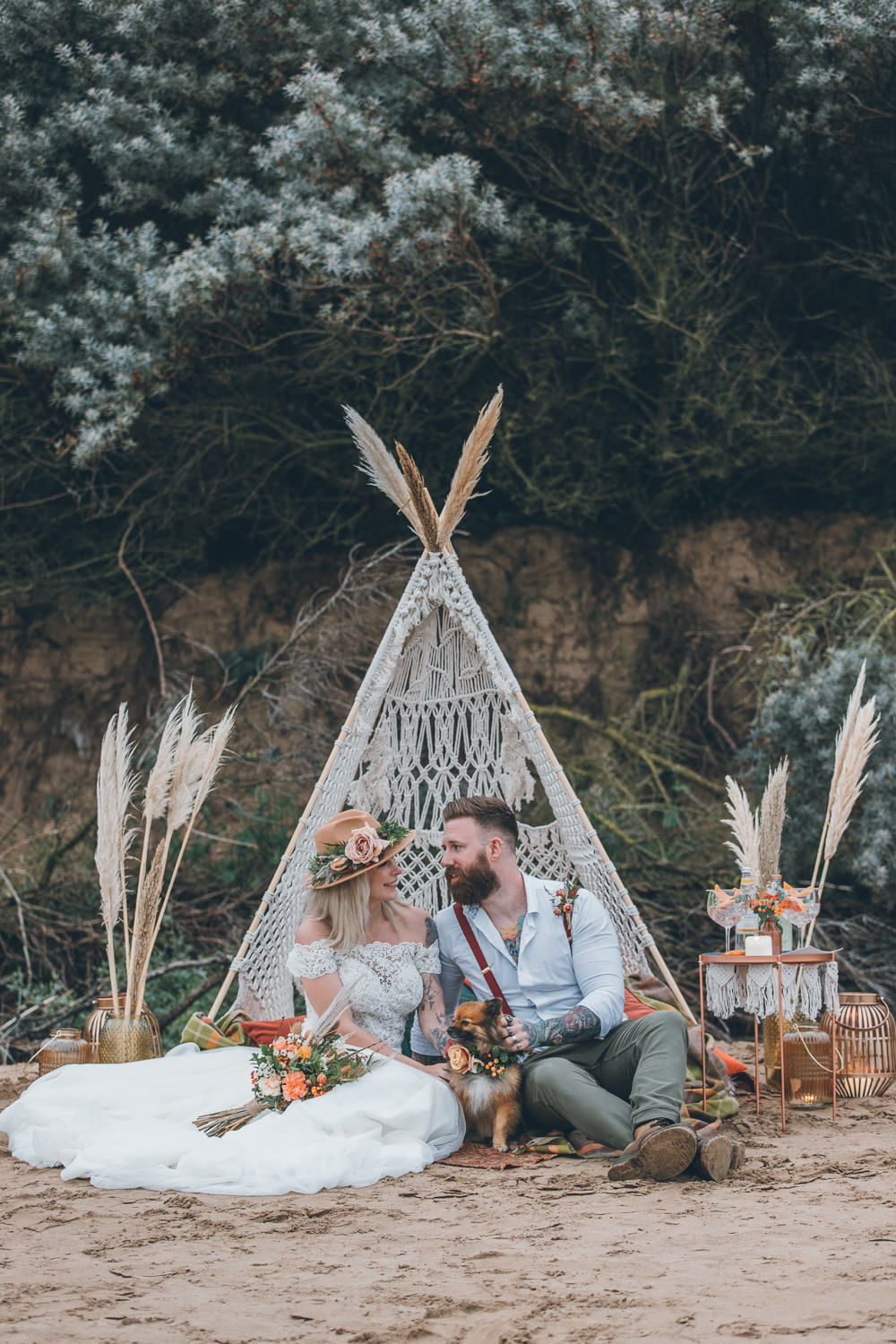 Beach Wedding UK Maria Madison Photographer Tipi Seating Area Boho