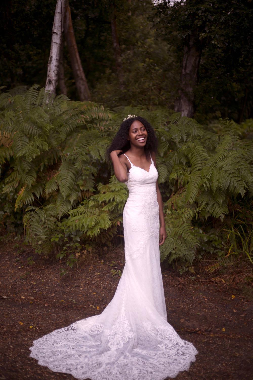 Dress Gown Bride Bridal Essense of Australia Lace Straps Tiara Crown Cuffley Camp Wedding Heather Winstanley Photography