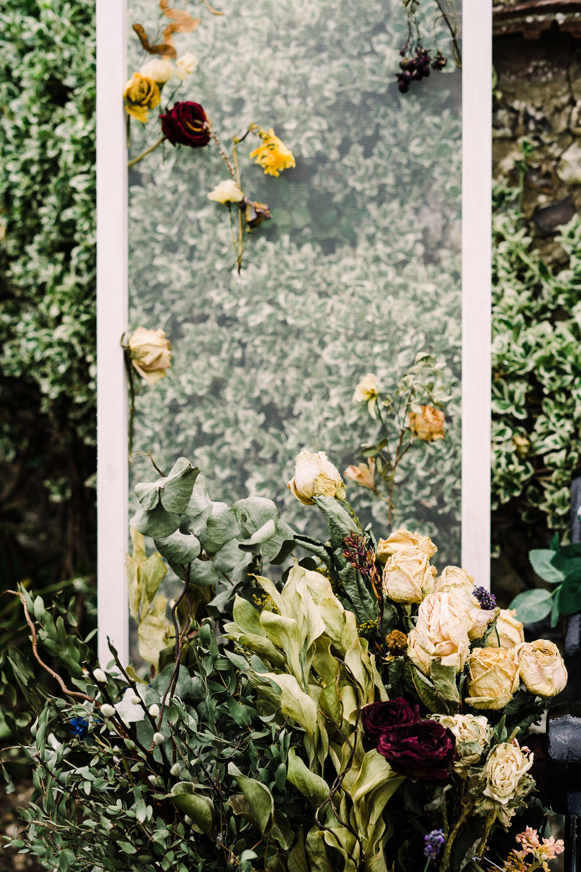 Basket Flowers Decor Clear Perspex Garden Wedding Reception Jade Touron Photography