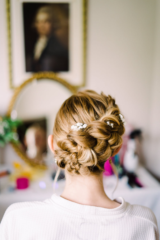 Garden Wedding Reception Jade Touron Photography Bride Bridal Hair Style Up Do Flowers Braid Plait