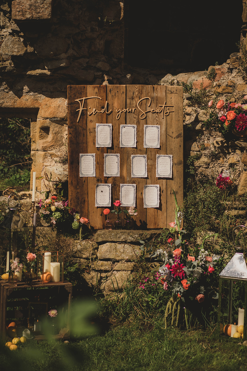Jervaulx Abbey Wedding Ideas Laura Adams Photography Table Plan Seating Chart Wooden Decor