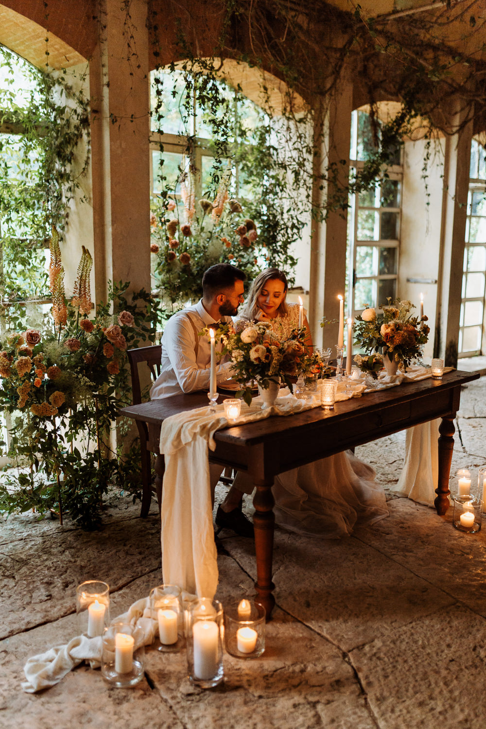 Natural Wedding Ideas Frame Of Love Greenhouse Decor Candles Table Tablescape Decor Peach Wild Flowers Greenery