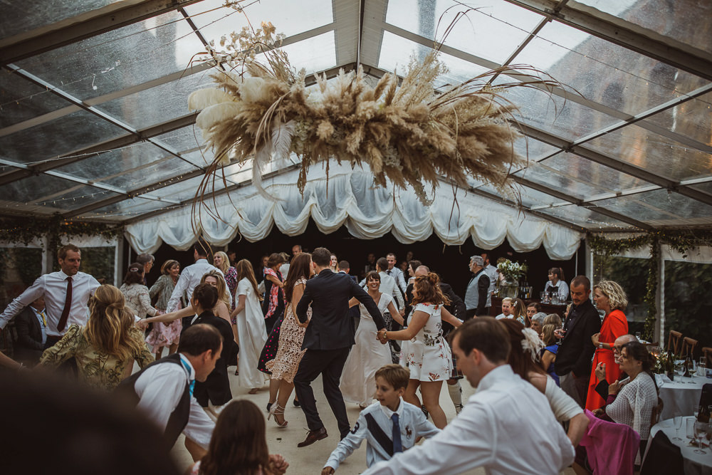 Clear Marquee Pampas Grass Flowers Cloud Hoop Decor Newburgh Priory Wedding Neil Jackson Photographic
