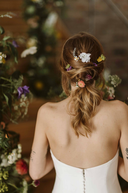 Hair Style Up Do Ponytail Bride Bridal Flowers Oakwood at Ryther Wedding Freya Raby