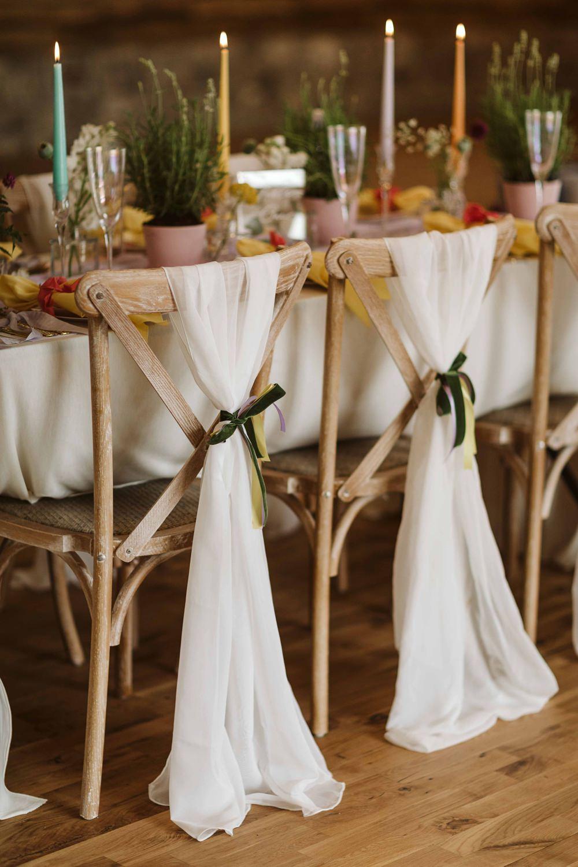 Chair Backs Fabric Ribbon Oakwood at Ryther Wedding Freya Raby