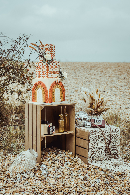 Retro 1970s Cake Rust Wedding Inspiration Golden Hare Wedding Photography