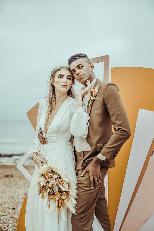 Retro 1970s Backdrop Art Painted Shapes Rust Wedding Inspiration Golden Hare Wedding Photography