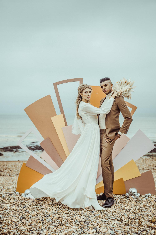 Rust Wedding Inspiration Golden Hare Wedding Photography Retro 1970s Backdrop Art Painted Shapes