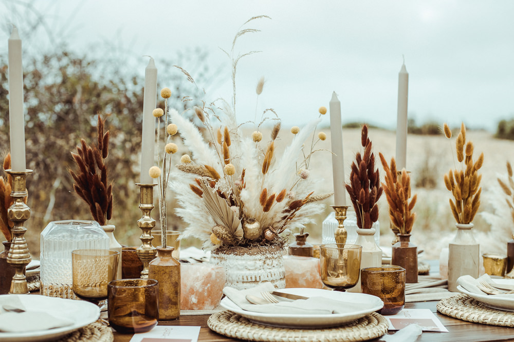 Table Tablescape Decor Decoration Pampas Grass Candles Dried Flowers Rust Wedding Inspiration Golden Hare Wedding Photography