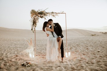 Sand Dunes Wedding Photos By Gayle Flower Arch Metal Dried Grasses