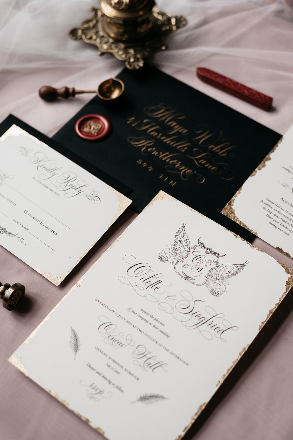 Swan Lake Wedding Ideas Salsabil Morrison Stationery Invite Invitations Calligraphy Gold Black Wax Seal