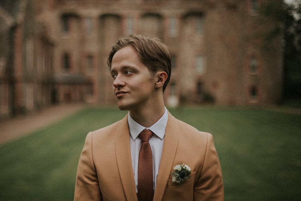 Groom Suit Tan Camel Tie Thirlestane Castle Wedding Bernadeta Kupiec Photography